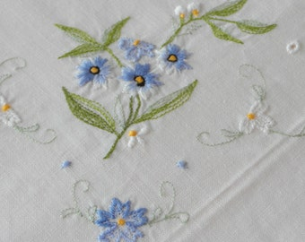 Vintage Tablecloth handmade blue white embroidered flowers crochet Cottage table decoration