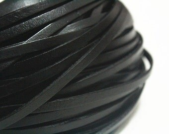 5mm Black Real Flat Leather Cord, 15feet Bracelet Leather Cord, Genuine Flat Leather Strip, Jewerly Leather String Cord