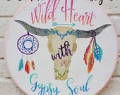 SALE SVG JPEG cutting file, Wild Heart with a Gypsy Soul for Silhouette, Cricut Vinyl Plotters Teen Cottage Boho ox skull Commercial Use Ok