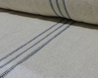 French Grain Sack Fabric By The Yard - 9 Blue Stripe