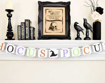 Hocus Pocus, Trick or Treat, Halloween Banner, Happy Halloween Banner, Hocus Pocus Sign, Halloween Kids Party