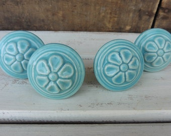 Light Aqua Blue Embossed Flower Ceramic  Knob ~ Turquoise ~ Shabby Chic ~ Drawer Pull - Rustic Romantic Country