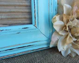 Hand Painted 9 x 7 WOOD Photo Frame with 4 x 6 opening with Glass ~ Distressed Aqua Teal ~ Ornate Wedding ~ Romantic Country Shabby Chic