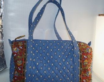 Vera Bradley French Blue Paisley Extra Large Shopper Tote Overnight Bag Purse