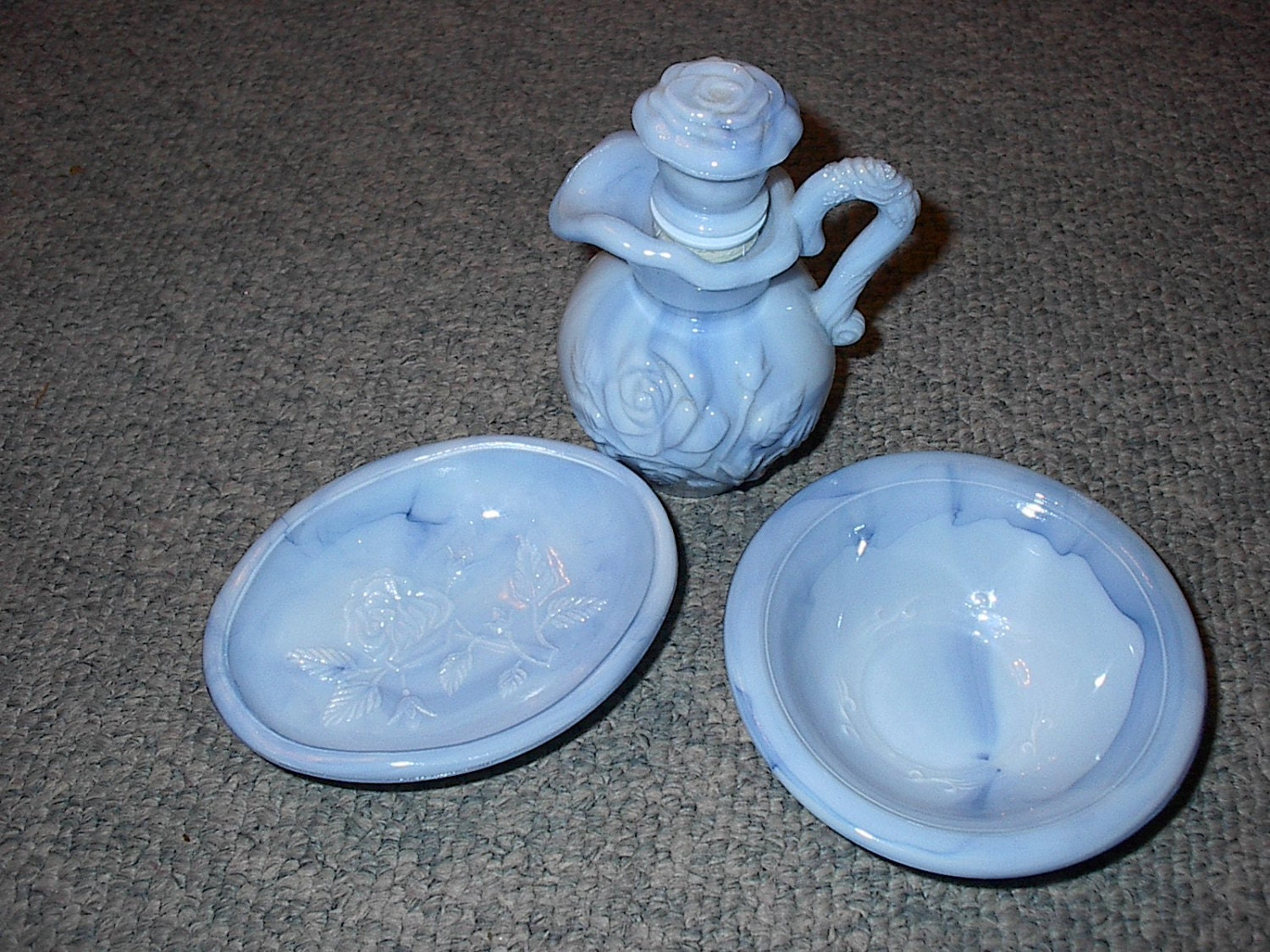 Vintage Avon Collectibles Three Piece Set Bowl And Pitcher And