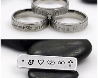 Hand Stamped 6mm *Matte Finish* Stainless Steel Name Ring