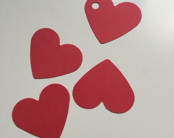 Set of 50  red  hearts  tags / red ags, Favor Tags,Treat Bag Tags, Product Tags, Hang Tags, Wish Tree Tags, birthday tags ,