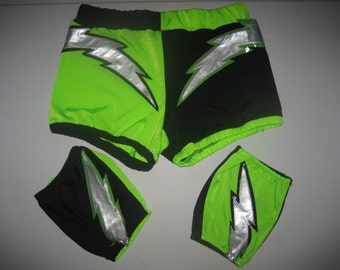 Pro wrestling biker shorts and knee pad covers with ligtening bolts