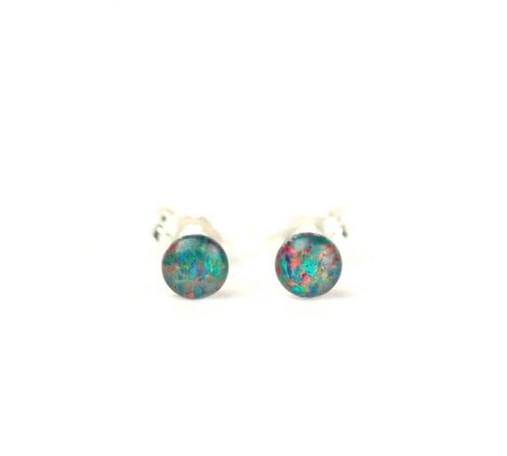 Opal stud earrings - opal studs - opal earrings - dot earrings - everyday studs - opal cabochons - tiny opal earrings