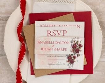 Botanical RED Flower Wedding Invitation Full Set (25)