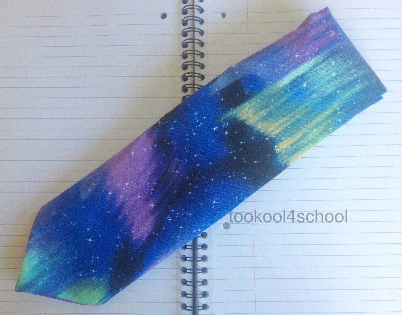 Northern Lights Fabric : Adult northern lights sky fabric tie