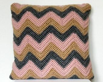 Crochet crevron pillow in pastel pink, beige and grey