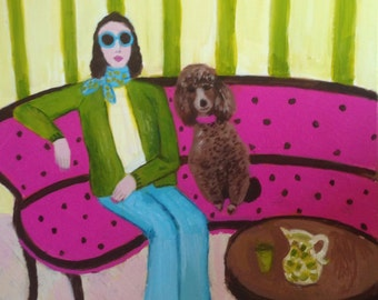 Mimi and Lulu, original signed acrylic painting on canvas