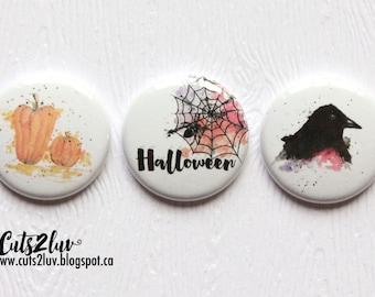 "3 badges 1 ""Halloween Watercolour"