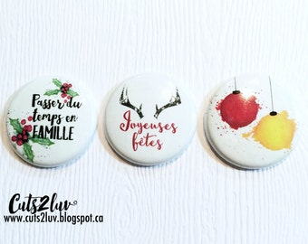 "3 badges 1 ""Christmas Watercolour"