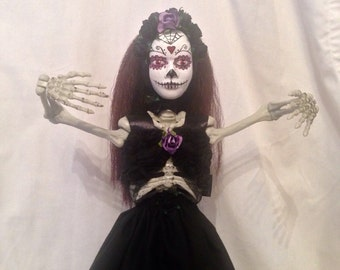 40% off Sale - Day of the dead skeleton art doll polymer clay handmade halloween