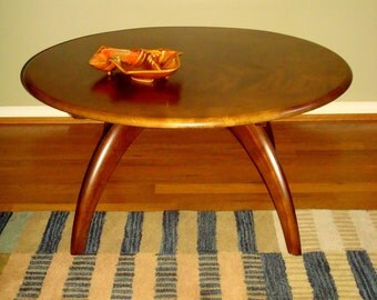 SOLD Mid Century Heywood Wakefiled Spider Leg Lazy Susan Cocktail Table Refinished in Walnut