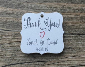 """20 Personalized Tags, 1.75"""", Favor Tags, Thank You Tags, Gift Tags - Weddings, Showers, Birthdays"""