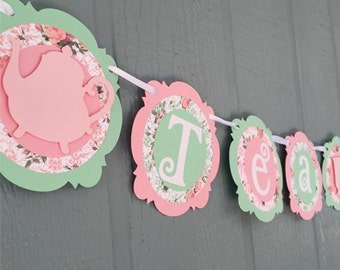 TEA TIME - Tea Party Banner - Light Pink, Mint, Floral - shabby chic - Birthdays, Garden Parties, Tea Parties, Photo Prop