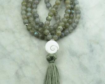 Eye of Shiva Mala - Labradorite Wrist Wrap Mala Beads- Buddhist Prayer Beads, 108 Mala Beads - protection, inner awareness.