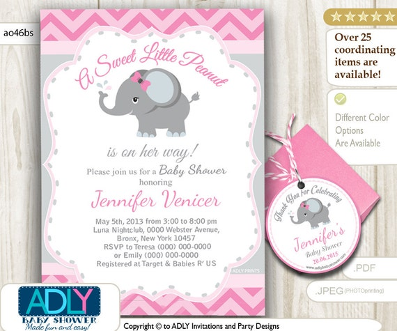 Pink Grey Elephant Invitation Baby Shower U0026 FREE Thank You Tags With Little  Peanut, Gray, Chevron, Printable, Itu0027s A Girl,soft Pink   Ao46bs