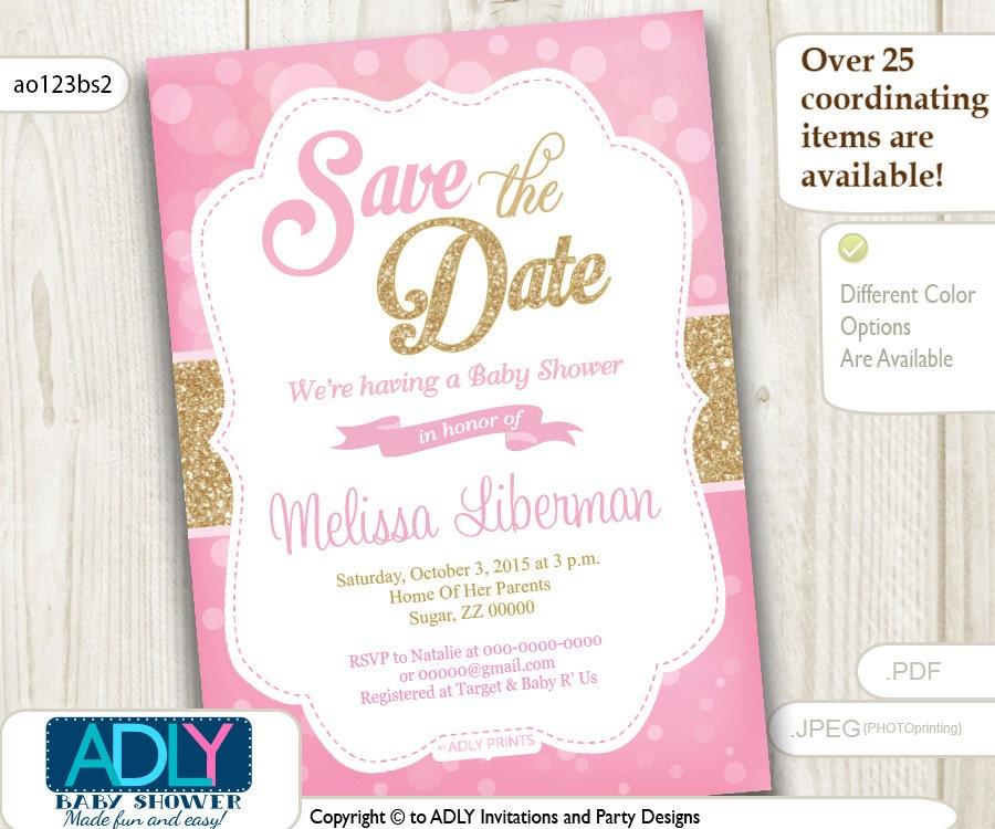 save the date invitation for baby shower bokeh pink and gold