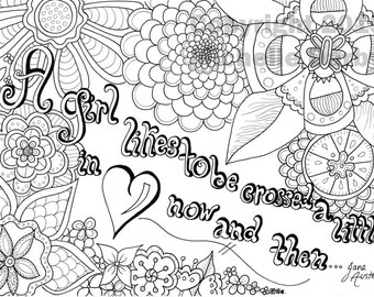 A girl crossed in love- Jane Austen quote coloring page