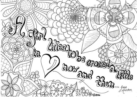 A girl crossed in love Jane Austen quote coloring page