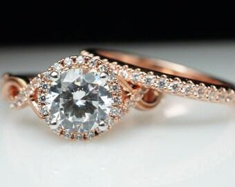 Round Halo Diamond Engagement Ring & Wedding Band Set Infiniti Band Delicate Flowery Style Large Diamond Ring Rose Gold Engagement Wedding