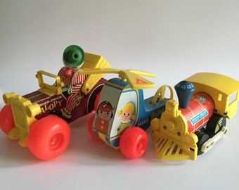Set of 3 Vintage Fisher Price Pull-Toys; Jalopy, Toot-Toot Train, Mini-Copter