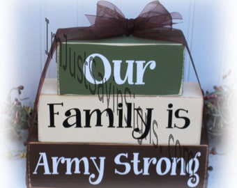 Our Family Is Army Strong Wood Stacking Blocks