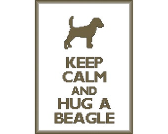 Keep Calm and Hug a Beagle Cross Stitch Pattern