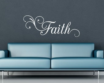 Faith Inspirational Word Vinyl Wall Decal - With Swirls/Flourishes - Home Decor - Large Size - Vinyl Lettering - Wall Decor - Quote CE11