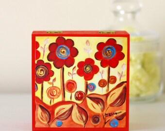 Orange Jewellery Box, Flowers Wooden Box, Floral Storage Box, Red Flowers Print, Orange Flowers Jewellery Box, Flowers Decorative Box