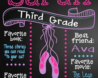 Custom  back to school sign,ballet, ballerina Poster Board, Chalk Board, Chalk, Printable Size 16x20 photo prop