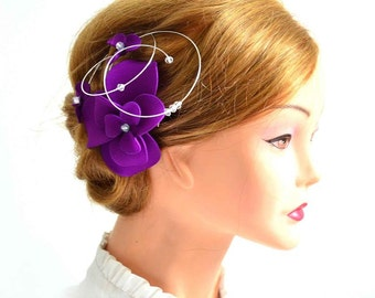 Purple fascinator Purple headpiece Elegant hair piece Bridesmaid hair Bridal headpiece Wedding hair accessories