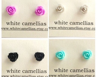 Resin flower earring, Set of 4, Rose earrings, Rose studs, Tiny studs, Lilac, Grey, Blue, Black, earring sets, 7.5mm