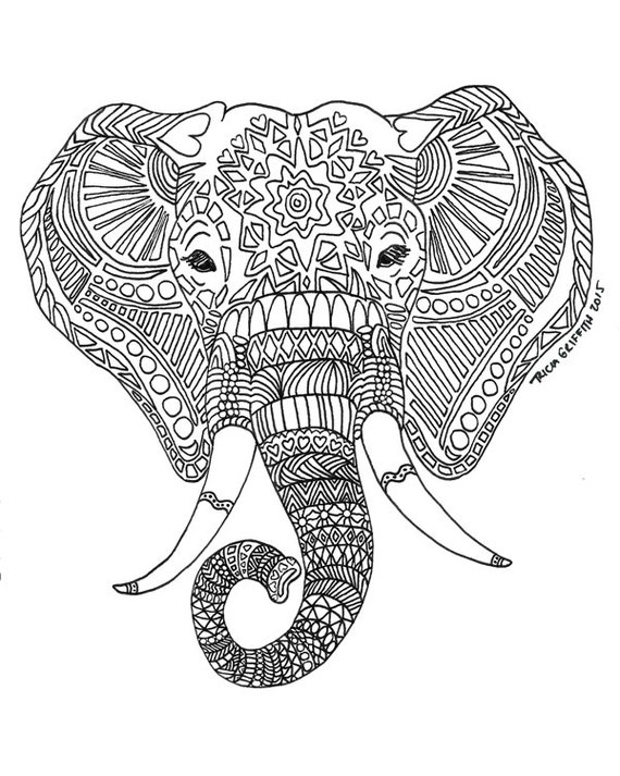 Items Similar To Zen Critters Sun Elephant Coloring Page