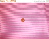 SALE - Vintage Fabric - Pink with White Stripes - 2 yds.