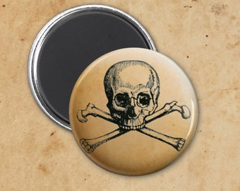 Skull and Crossbones Vintage Gothic Halloween Magnet