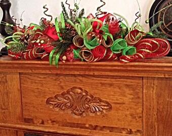 """32"""" Christmas Deco Mesh Centerpiece/Christmas Fireplace Centerpiece/Christmas Red and Lime Centerpiece/Christmas Centerpiece"""