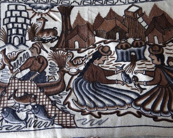 Vintage Exotic Beautiful Art Embroidered on Burlap Mural Fishing Ecuadorians/American Natives/Argentinans  Fish/Forts/River  36  X 27 1/2