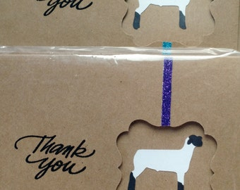 Show Lamb Thank You cards 4 pack