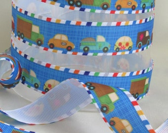 Busy Cars and Trucks Grosgrain Ribbon - Bumper to Bumper- 7/8 in wide x 3 or 5 yards