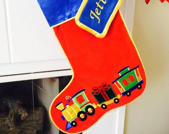 Embroidered Appliquéd train stocking with matching name tag