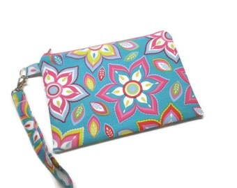 Bright mod flowers zippered phone wallet wristlet, turquoise and hot pink! Women wristlet clutch purse.