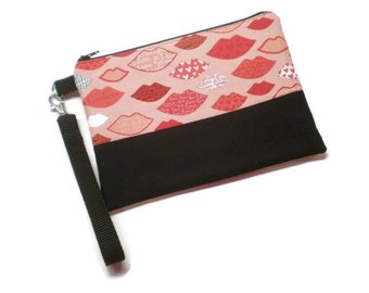 Fun love lips iPhone wallet wristlet. Zippered phone purse. Pink, red and black.
