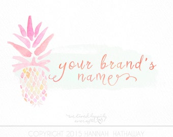 Pink Pineapple Tropical Logo: Premade Business Logo (Item #122BK)