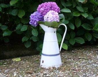 French forties 40's white enamel jug/pitcher/ewer with decorative blue band.