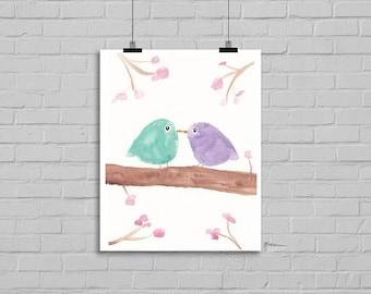 Mint and Lilac Kissing Birds Watercolor Painting Art Print Illustration Bird Art Drawing Watercolor Print Watercolour Wall Art Birds